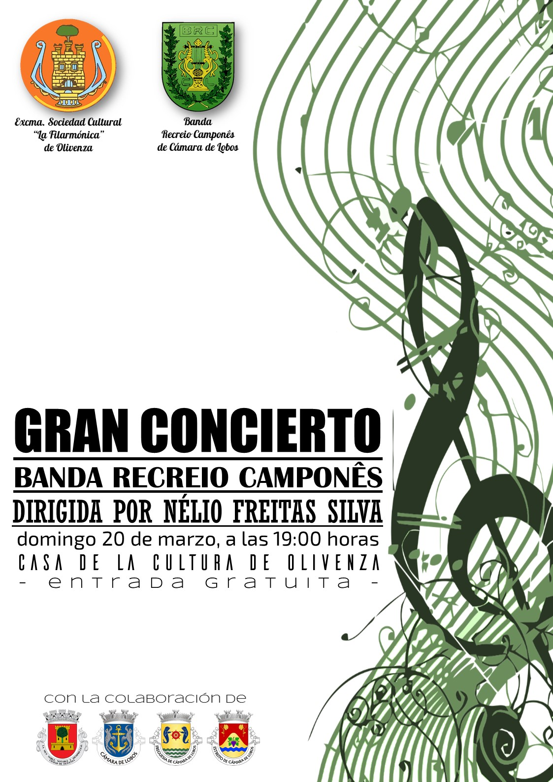 Mañana a las 19:00h. la banda Recreio Camponês, de Madeira, dará un concierto gratuito en la casa de la cultura