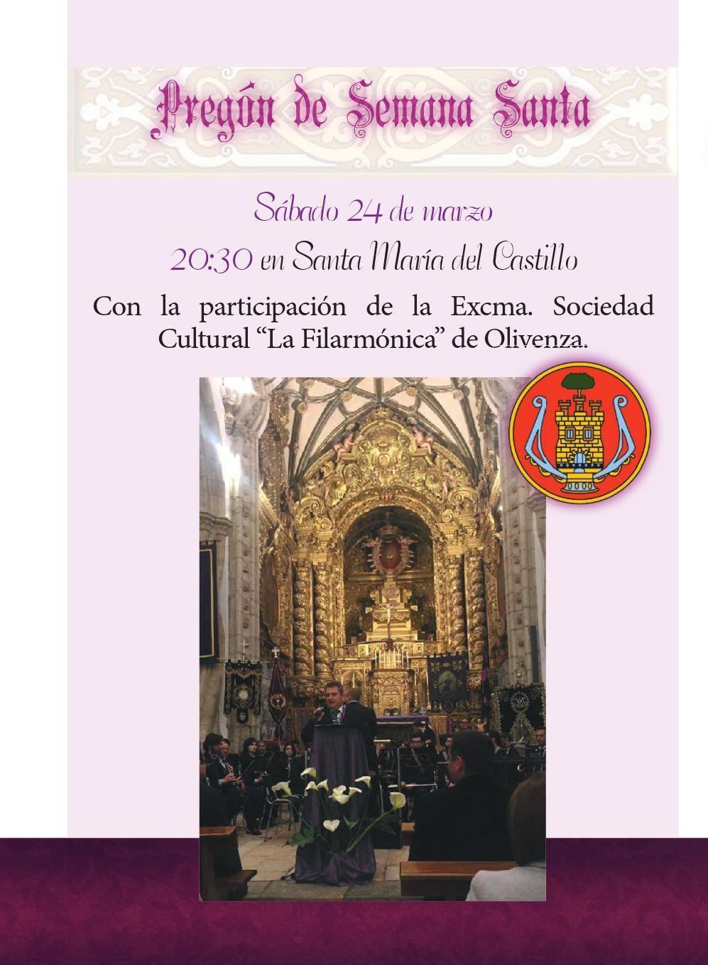 La música de La Filarmónica engalana el pregón de Semana Santa de Olivenza 2018